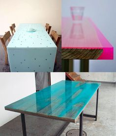 achieved by pouring coloured epoxy onto the uneven surface of the wooden table. The colour of the resin is more or less intense depending on the varying depths of the wood across its surface.