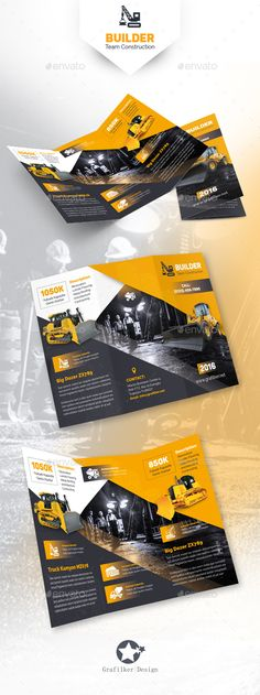 Construction Tri-Fold Brochure Template PSD, InDesign INDD #design Download: http://graphicriver.net/item/construction-trifold-templates/14092299?ref=ksioks