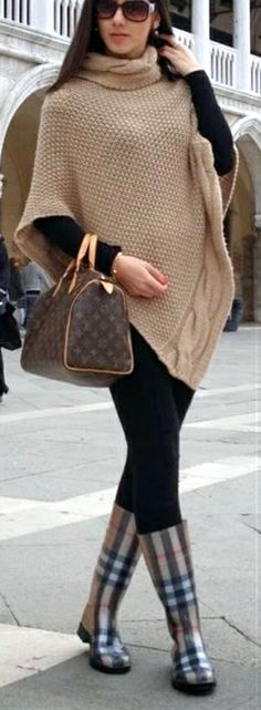 Beige Poncho with Burberry Plaid Rainboots nd Louis Vuitton Bag   Street Style