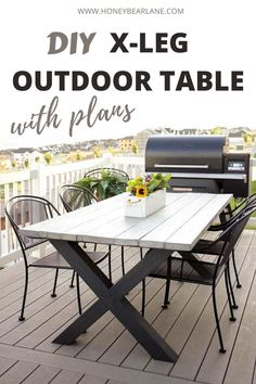 DIY X-Leg Outdoor Table With Plans Enjoy your patio and outdoor space even more by building this beautiful x-leg outdoor table! It doesn't cost much and the result is amazing. X leg table plans. DIY X leg wooden table. Patio Diy, Diy Outdoor Table, Outdoor Tablecloth, Diy Outdoor Furniture, Outdoor Patio Tables, Rustic Furniture, Wooden Outdoor Table, Diy Pergola, Wooden Tables