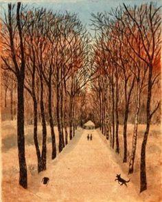 Inari Krohn 2011 Syyspuisto, vedos Grafiikka 25 x 20 cm € tai € kk) Dream Fantasy, Woodblock Print, Love Art, Finland, Country Roads, Sky, Artist, Prints, Autumnal