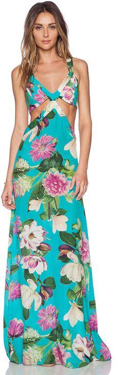 ADRIANA DEGREAS Bouquet Print Maxi Dress (girls fancy dresses floral maxi)