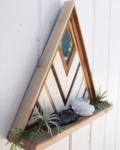 Organize your essentials or display your favorite things with this beautiful reclaimed wood shelf! Woodworking Tools List, Cool Woodworking Projects, Woodworking Patterns, Popular Woodworking, Woodworking Wood, Wood Projects, Crystal Shelves, Geometric Shelves, Diy Holz