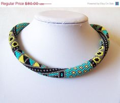 CIJ SALE Bead crochet necklace with geometric pattern - Beaded rope necklace - Patchwork - Beadwork - grey, turquoise, yellow, black