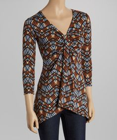 Another great find on #zulily! Blue & Black Mosaic Gathered V-Neck Top by GLAM #zulilyfinds