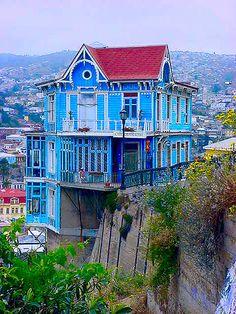 beautiful blue house in Valparaiso, Chile - photographer Miguel Herrera