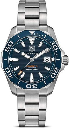 Discover the TAG Heuer Aquaracer Calibre 5 Black Dial & Fine-brushed and polished steel Strap Gent Watch with 41 mm. Check it out on the official TAG Heuer website. Gents Watches, Sport Watches, Watches For Men, Citizen Watches, Latest Watches, Wrist Watches, Rolex Watches, Daniel Wellington, Swiss Army Watches