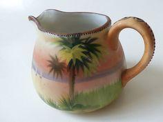 Antique Nippon Creamer ~ Palm Tree Moriage