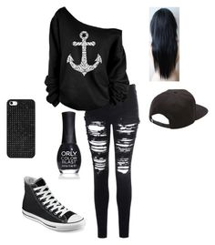 """""""Untitled #42"""" by haileywwe ❤ liked on Polyvore featuring Glamorous, Converse, BaubleBar, Vans, ORLY and black"""