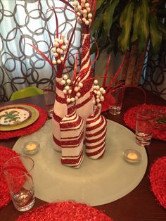 Candy cane wine bottle! I made these for Christmas! So happy how they turned out!