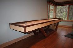 Toronto Shuffleboard Black American Walnut and Select White Hard Maple. Other combinations available like Wenge, or Sapelle