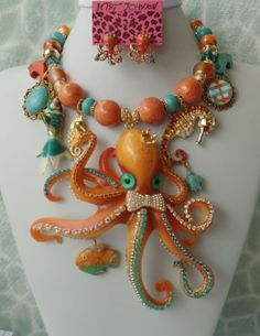 Big-Orange-Octopus-Hank-Runway-Necklace-Betsey-Johnson-Earrings-Signed-OOAK