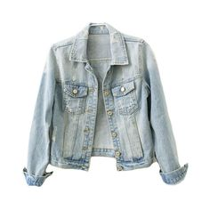 Distressed Denim Jacket ($66) ❤ liked on Polyvore featuring outerwear, jackets, tops, coats, distressed jacket, distressed denim jacket, long distressed denim jacket, pocket jacket and long jacket