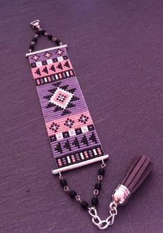 Bracelet Manchette Motif Aztèque Orange Fluo, Violet irisé, Noir et Argenté ! sur Etsy, 25,00€