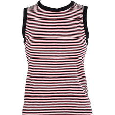 Rag & Bone Racer Striped Cotton Top (1.895.010 VND) ❤ liked on Polyvore featuring tops, multicolor, striped top, crew neck top, colorful tops, sleeveless tops and sleeveless striped top