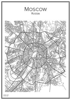 Moscow. Russia. Ryssland. Map. City print. Print. Affisch. Tavla. Tryck. Stadskarta.