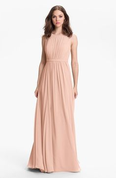 Free shipping and returns on Jenny Yoo 'Vivienne' Pleated Chiffon Gown at Nordstrom.com. Pull out the photos many years from now, and you'll see this chiffon gown looks as elegant as it does today. To keep the fit feminine and flattering to all figures types, the sleeveless bodice and sweeping skirt have fine pleats that are softly gathered to an inset waistband. The bateau-style, sheer-illusion yoke is gracefully finished with a V-neckline in back.