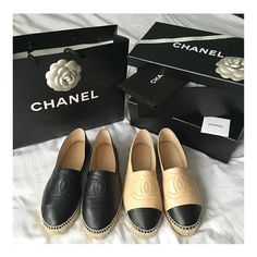 "on sale d5e95 8d285 Billion Dollar Wishes on Instagram  ""Black or beige   Chanel espadrilles ❤ """
