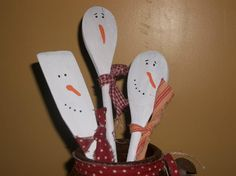 Painted snowman spoons