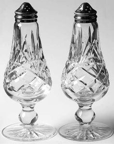 Waterford Cut Crystal / Formal serving of salt and pepper. Crystal Glassware, Crystal Vase, Waterford Crystal, Clear Crystal, Silver Shop, Salt And Pepper Set, Crystal Meanings, Crystal Collection, Crystal Palace