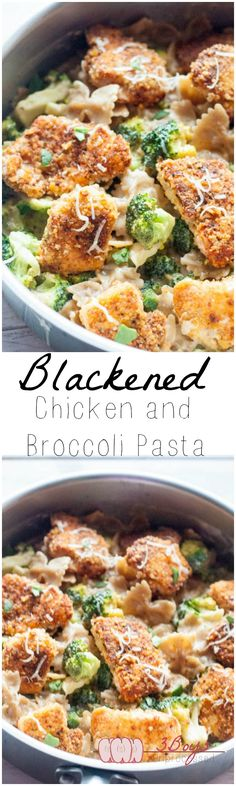 Crispy Blackened Chicken and Broccoli Pasta || www.3boysunprocessed.com