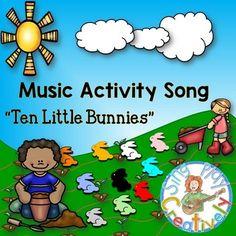 "READ-SING-MOVE  ""Ten Little Bunnies"" ACTIVITY SONG *RHYTHM"