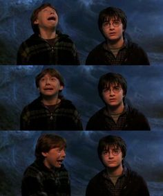 Ron's face compared to Harry's face = priceless!
