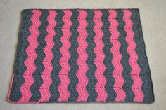 Thick and Heavy Pink and Gray Crochet Ripple by TMedlockDesign, $65.00