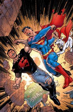 Connor Kent aka Kon-El and Clark Kent of Earth-Prime in Superboy versus Superboy-Prime (cover to Infinite Crisis #4)