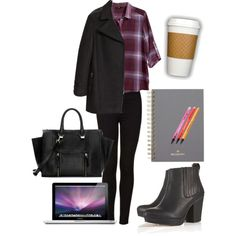 #polyvore #outfit #look #school #class #notebook #mulberry #topshop #boots #ankleboots #coffee #h&m #fashion #ootd #blogger #girl #mode #style #shirt #laptop #bag #coat