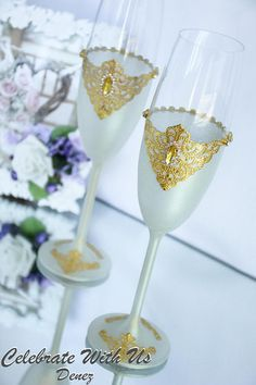 GOLD Wedding Glasses Toasting Flutes Champagne Flutes Toasting