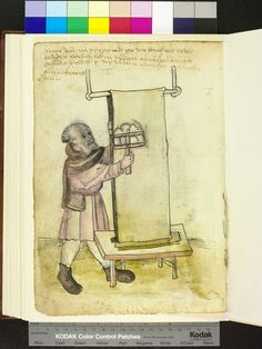 Amb 317.2 ° folio 131 verso 1515 The brother roughens with the card with both the right and to the left on the covert on the rod run, long hanging cloth that bears down on the low table.