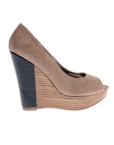 I don't get this fake heeled wedge. No! Too much going on!