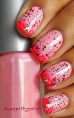 Light Pink and Hot Pink with Gradient Pink Glitter Nails