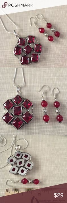 Fascinating rubellite silver set Handcrafted artisan main stone is 10'10 width in cm 3.9 length 5 /.  2'1/4 long to 1'1/2 wide stamped inlay with 18' chain earrings are 2' long NWOT Jewelry Necklaces