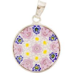 Pink & Yellow Flowers - Millefiori Pendant