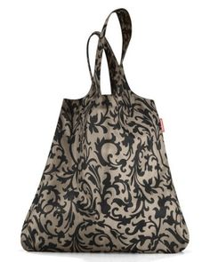 Reisenthel Mini Maxi Shopper baroque Taupe, Polyester, noir/marron, 60 x 7 cm Reusable Shopping Bags, Baroque, Drawstring Backpack, Backpacks, Material, Range, Strong, Products, Fashion