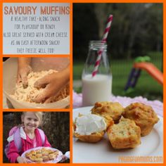Healthy Savoury Muffins - perfect for fussy eaters, or for a shared morning tea at playgroup. Lunch Box Recipes, Lunch Snacks, Baby Food Recipes, Cooking Recipes, Lunchbox Ideas, Muffin Recipes, Toddler Recipes, Toddler Food, Toddler Meals