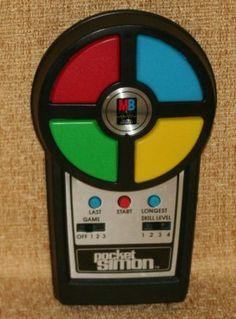 Vintage 1980 Pocket Simon Handheld Electronic Game from Milton Bradley. Milton Bradley, Game 7, Jukebox, Vintage Toys, Childhood Memories, Hold On, Video Games, Pocket, Electronics