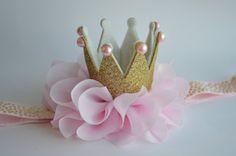 Pink and Gold Baby Crown Headband Gold Glitter di Moonpennieskids