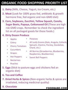 Organic Shopping Food Priority List by Food Babe. How To Eat Organic On A Budget Healthy Tips, Healthy Recipes, Eat Healthy, Healthy Meals, Clean Recipes, Healthy Shopping, Meatless Recipes, Healthy Detox, Healthy Cooking