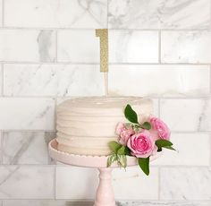 First birthday cake floral theme