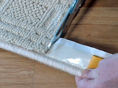 using binding www.carpetrunners.co.uk Carpet Binding: Make a Stair Runner with Easy Bind Rug Edging | Carpetrunners 5. When going around a corner, cut the binding, not the rope! As shown above.