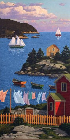 Chromafields — a-sensual-happy-moody-moon: Paul Hannon Henri Rousseau, Naive Art, Art Graphique, Canadian Artists, Whimsical Art, Beautiful Artwork, Strand, Art Pictures, Landscape Paintings