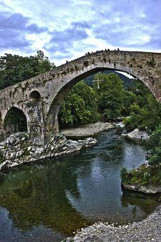 HDR Asturias - Puente Romano Cangas de Onís by babelia13, via Flickr Roman Bridge. Cangas de Onís. Spain.
