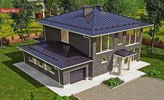 Готовый проект 2-этажного дома с гаражом на 1 машиноместо площадью 288м2 в Краснодаре