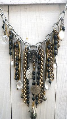 rosary fringe necklace religious bib statement by Novella on Etsy, $138.00