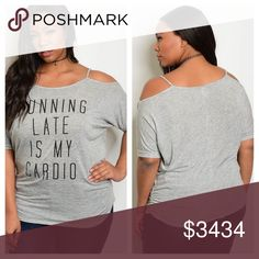 "1X-3X✨gray cold shoulder graphic tee ""RUNNING LATE IS MY CARDIO"" cold shoulder graphic tee. Scoop neck. 3/4 sleeve. Length 33"". 95% polyester 5% spandex. Modeling the 1X and I'm 5'5"". Tops Tees - Short Sleeve"