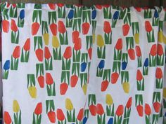 "Cotton Rod Pocket Curtain 58"" x 33"" Tulip Fabric Curtains; Retro Style Tulip Print Curtain; Modern Kitchen Curtain Valances; Custom Curtains"
