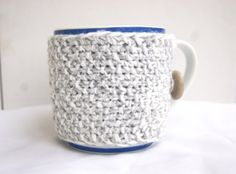Hand knitted light grey with white cup cozy